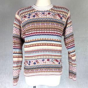 Vintage Crewneck Fair Isle Granny Sweater Small